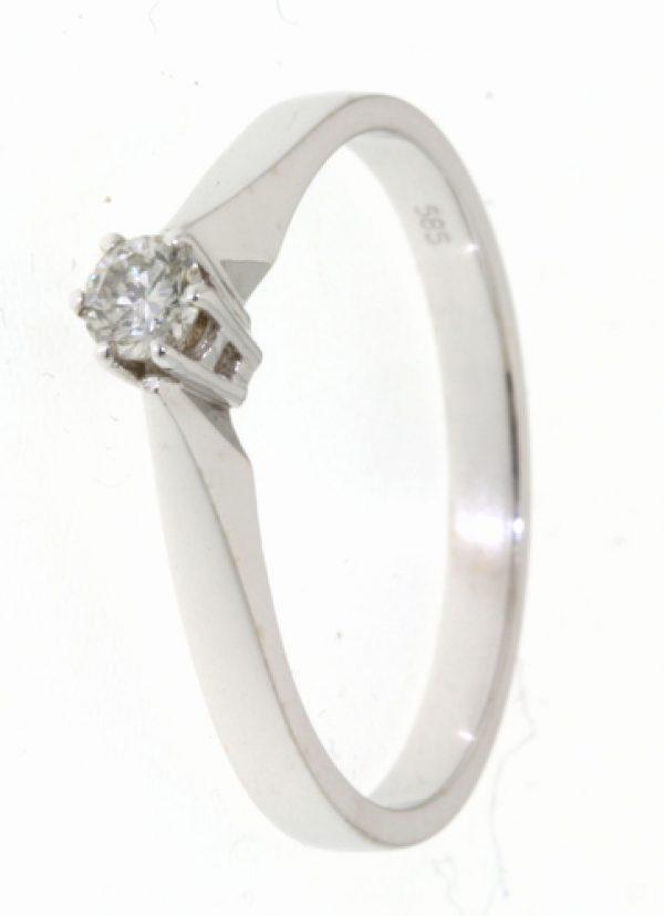 14krt witgouden diamanten ring.