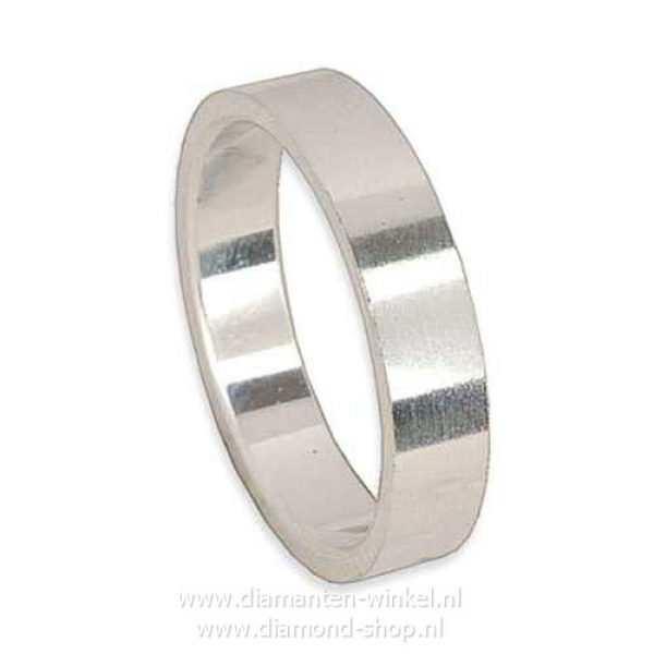 Platina zilver witgoud heren ring trouwring verlovingsring 4mm breed, 2mm dik, model Apollo vlak/vlak