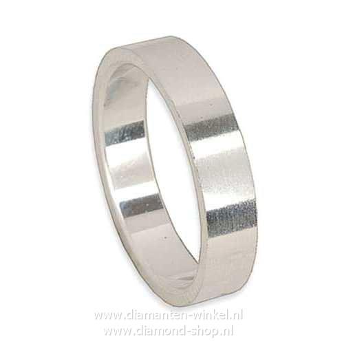 Platina zilver witgoud heren ring trouwring verlovingsring 4mm breed, 2mm dik, model Apollo vlak/vlak